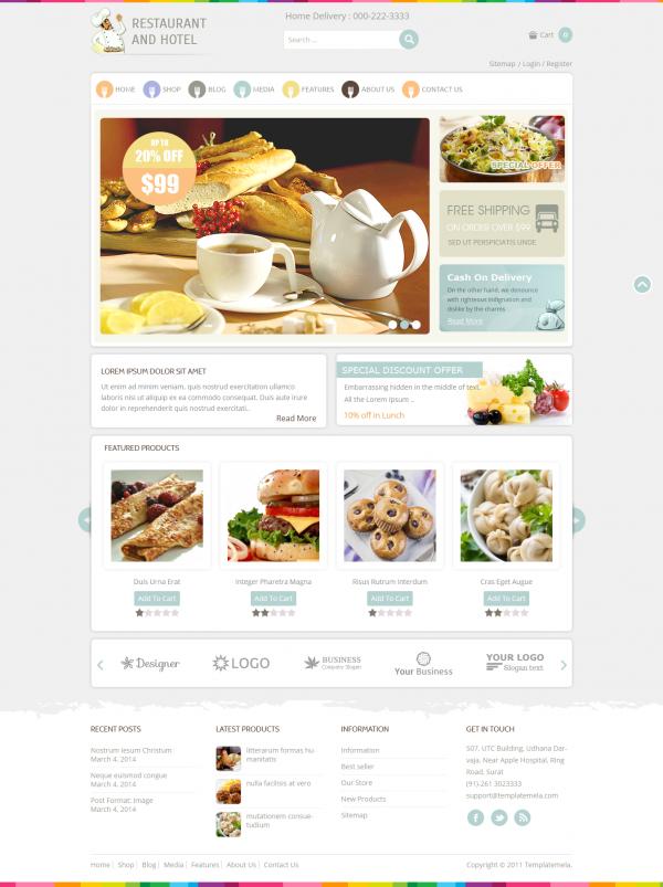 Mẫu thiết kế web ẩm thực, nhà hàng Restaurant
