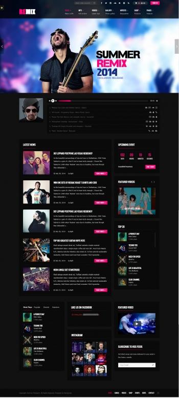 Mẫu website âm nhạc chuyên nghiệp Remix