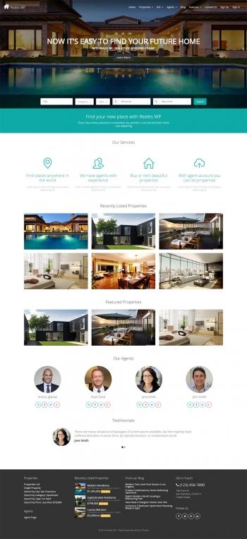 Mẫu web bất động sản chuyên nghiệp Reales