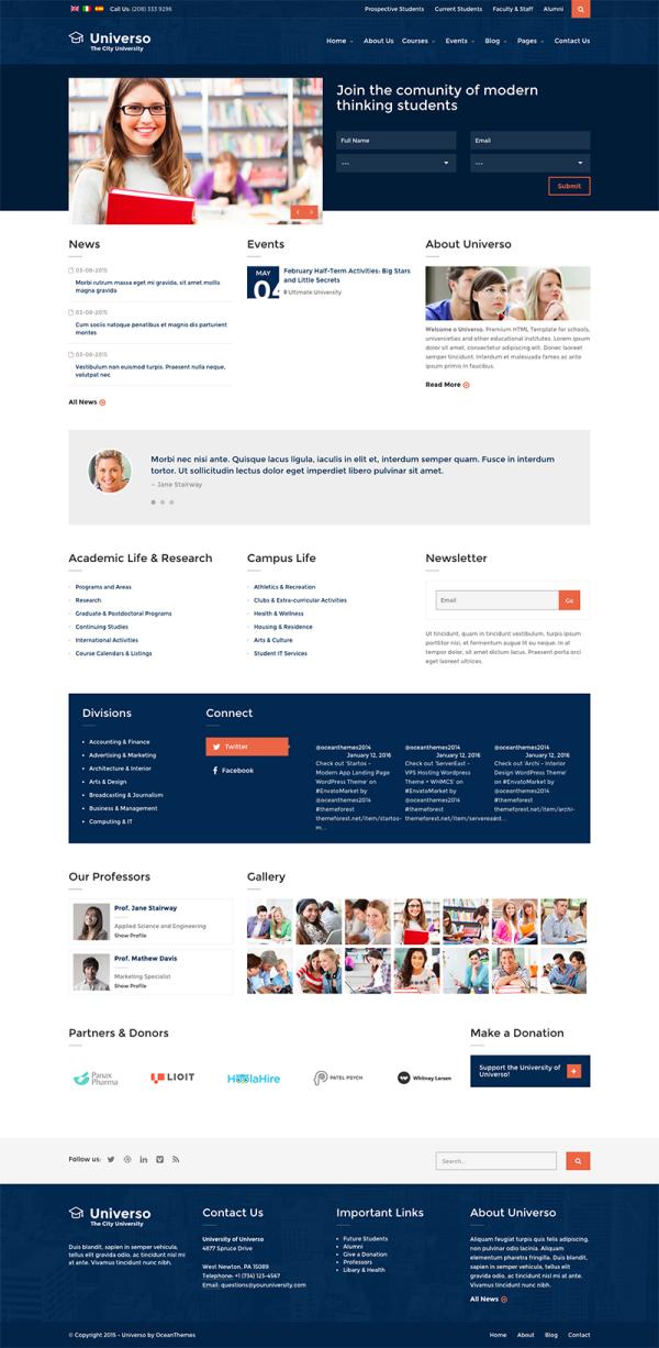 Thiết kế web lĩnh vực đào tạo, trường học Universo
