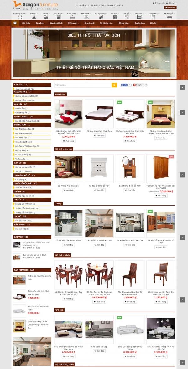 Mẫu website án hàng nội thất chuyên nghiệp Saigon Furniture