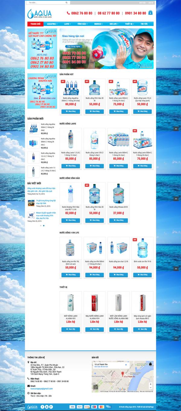 Thiết kế website nước uống AQUA