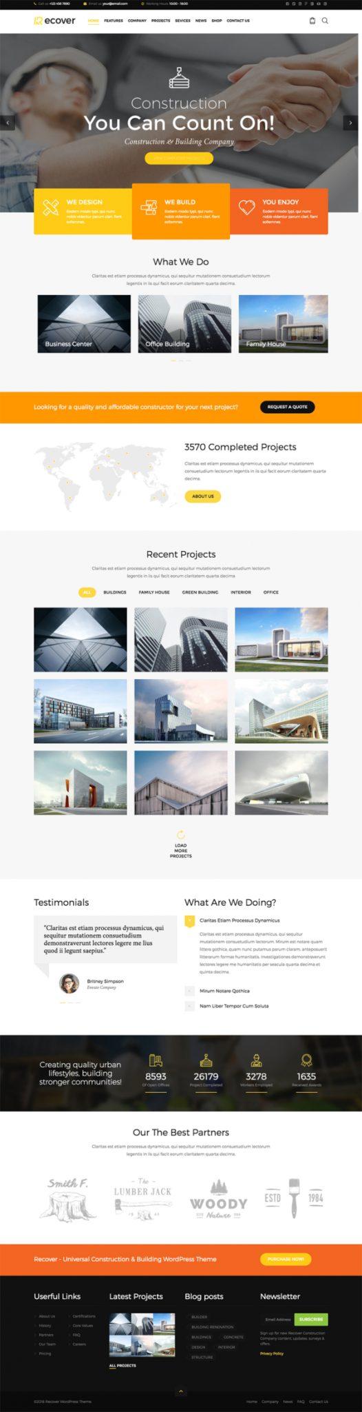 Thiết kế web công ty xây dựng Recover