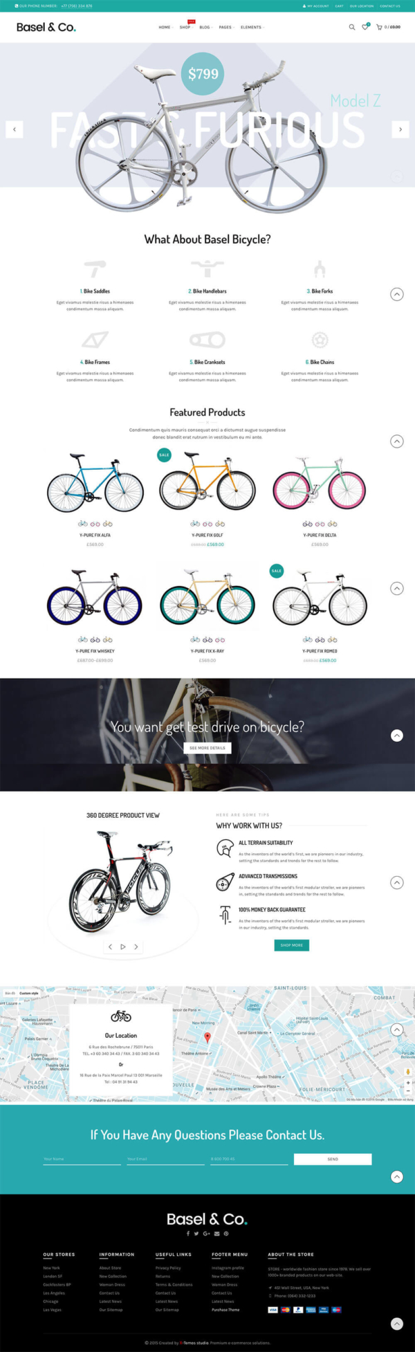 Mẫu website xe đạp: Mẫu web Basel