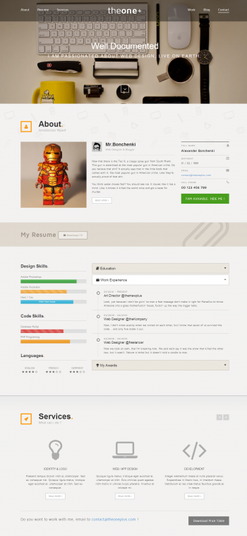 Mẫu website cá nhân cực đẹp Theone