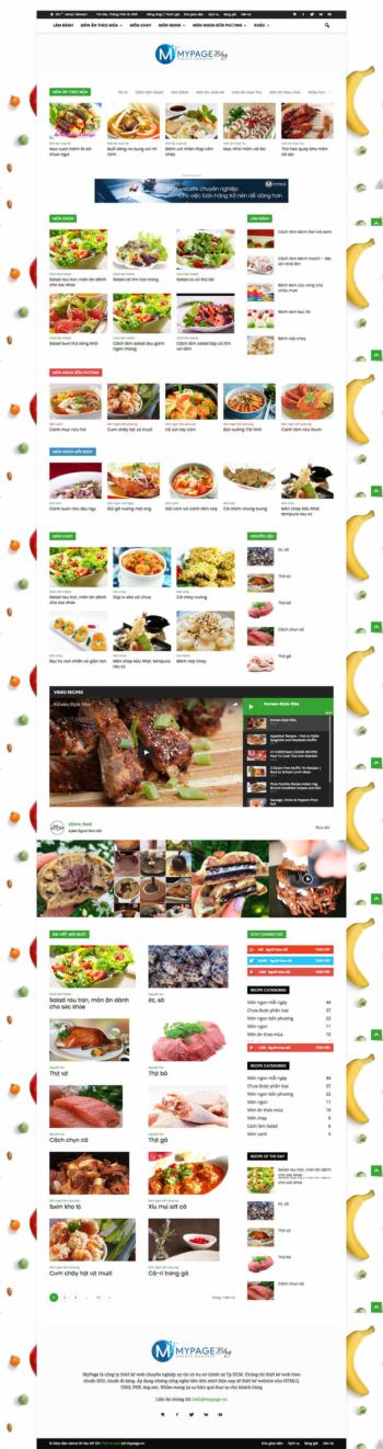 Thiết kế website tin tức Thực phẩm