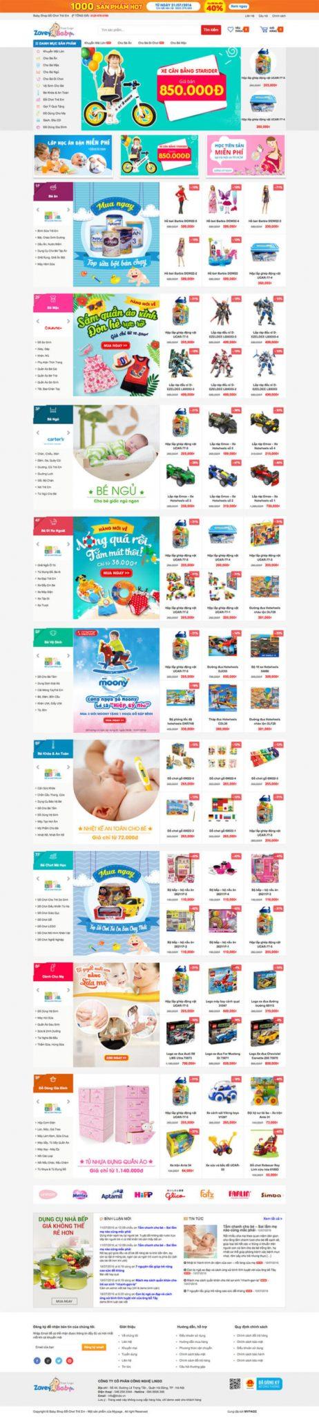 Mẫu web bán hàng chuyên nghiệp Babyshop