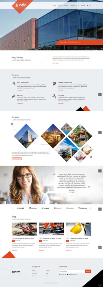 Mẫu web xây dựng, thiết kế cao cấp Porto