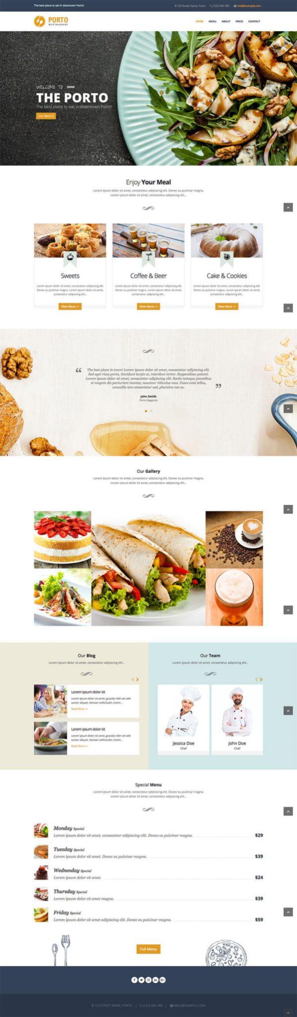 Mẫu web nhà hàng cao cấp Porto