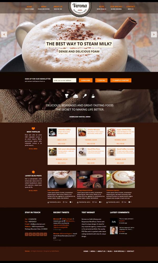 Trang web giới thiệu quán cafe Verona