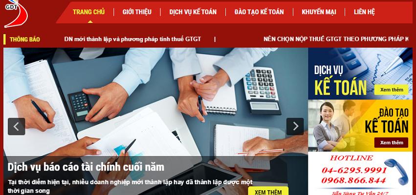 Thiết kế website dịch vụ kế toán