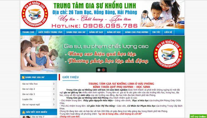 Thiết kế website trung tâm gia sư dạy kèm