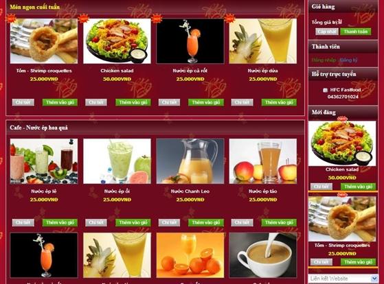 Thiết kế web quán ăn nhà hàng