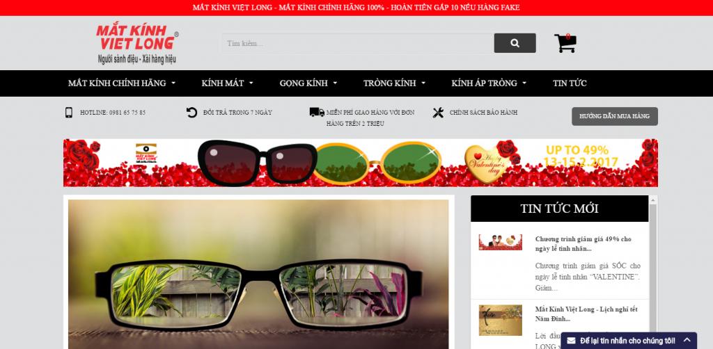 Thiết kế web shop kính mắt