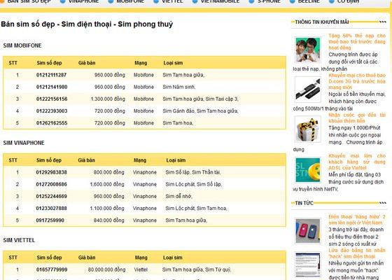 Thiết kế web bán sim thẻ điện thoại