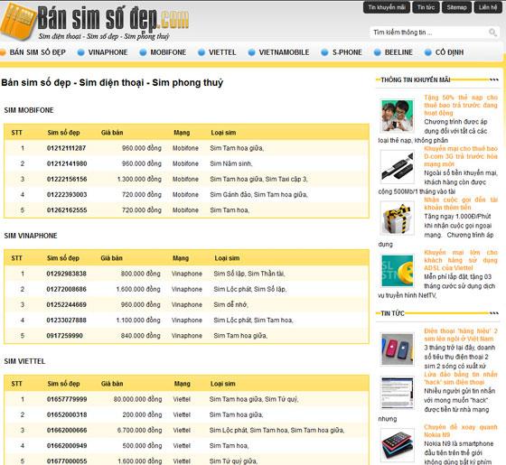 Thiết kế website bán sim thẻ điện thoại