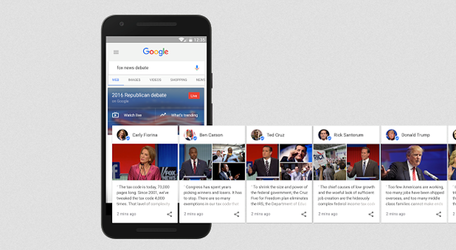 Google Candidate Cards Mobile View