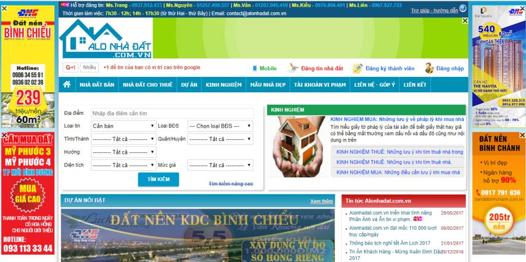 Website bất động sản alo nhà đất