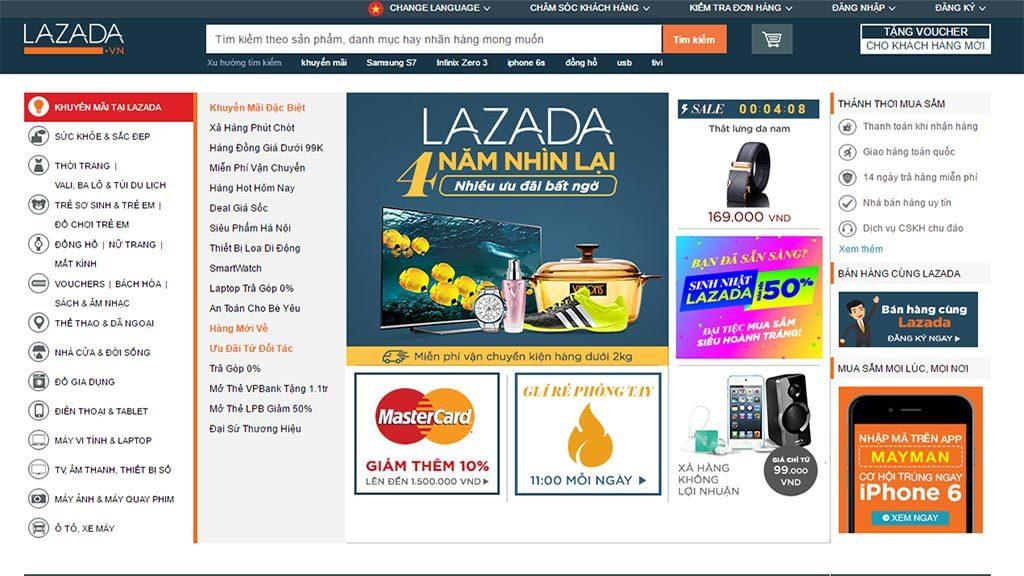 Website thương mại điện tử Lazada