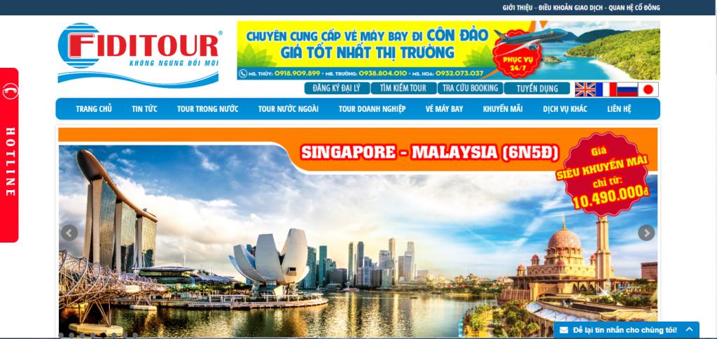 web du lịch Fiditour.com