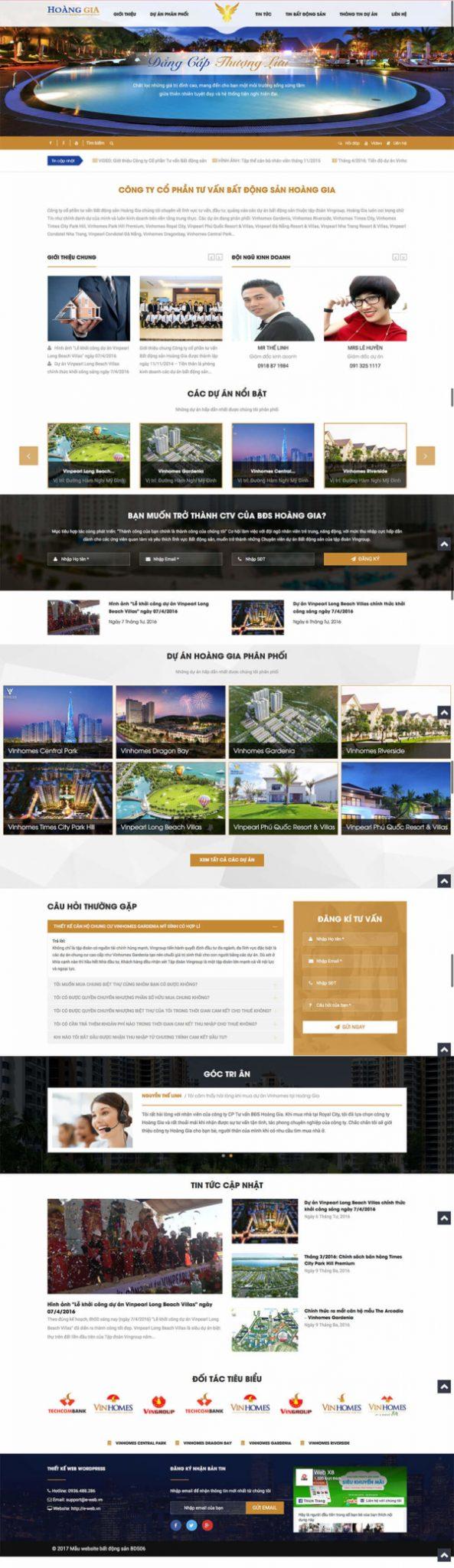 Mẫu website bất động sản Hoàng Gia