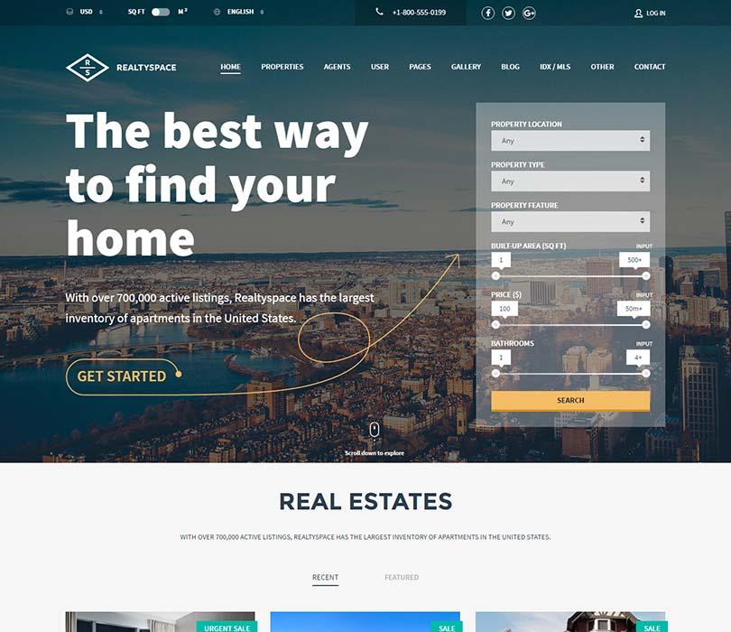 Mẫu website bất động sản Realtyspace