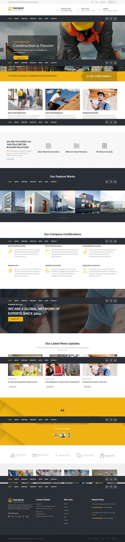 Mẫu web giới thiệu công ty xây dựng The roof construction