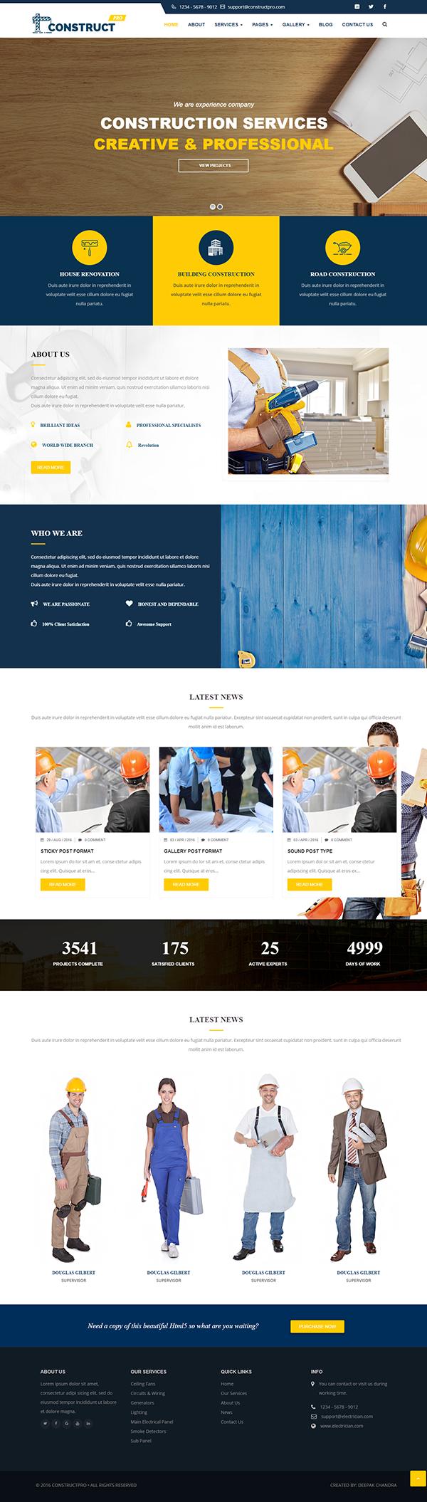 Mẫu website giới thiệu công ty xây dựng Construct Pro