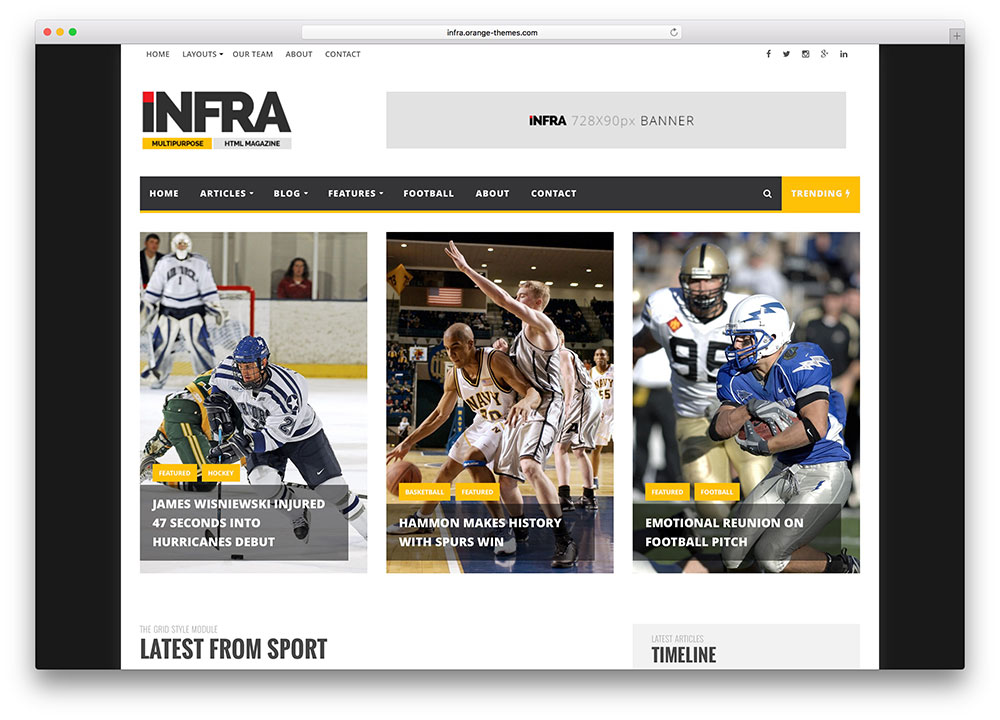 INFRA theme wordpress