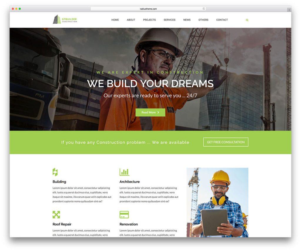 mẫu website công ty xây dựng đẹp chuyên nghiệp