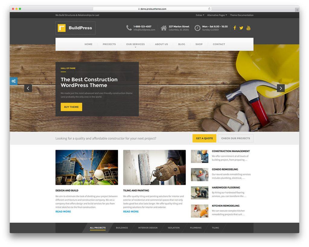 Top 6 mẫu website công ty xây dựng