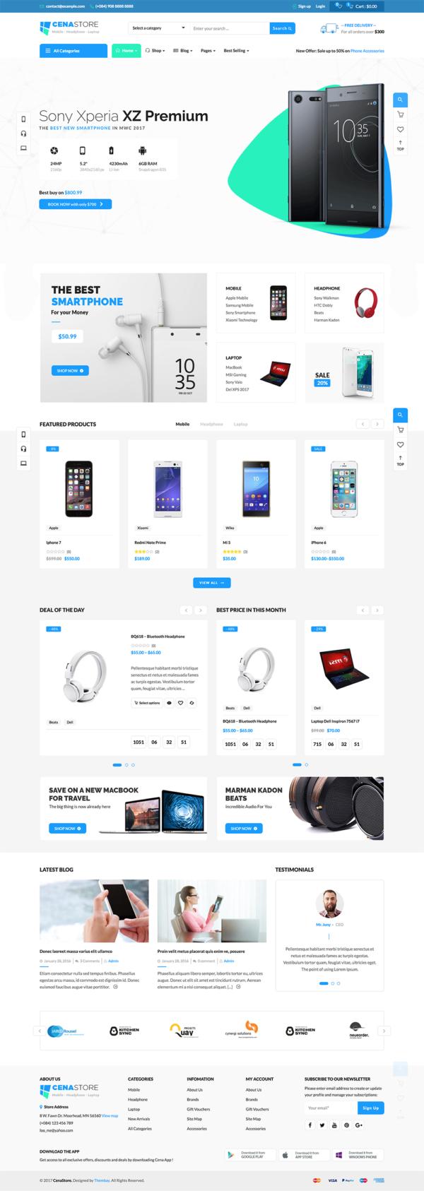 Mẫu website bán hàng CenaStore chuyên nghiệp