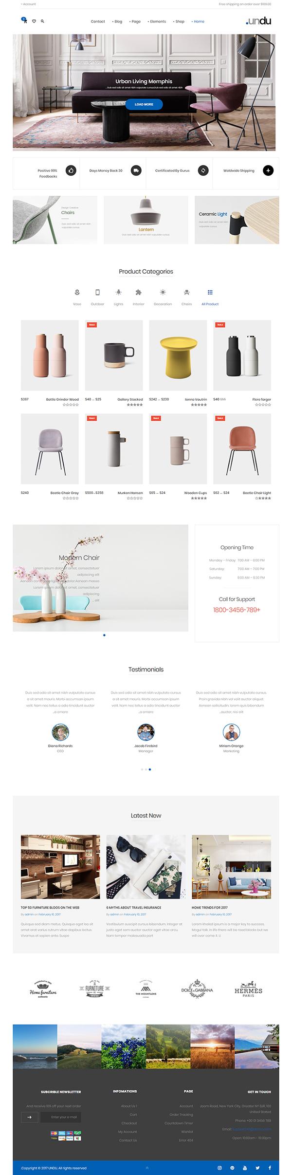 Thiết kế website bán hàng nội thất undu