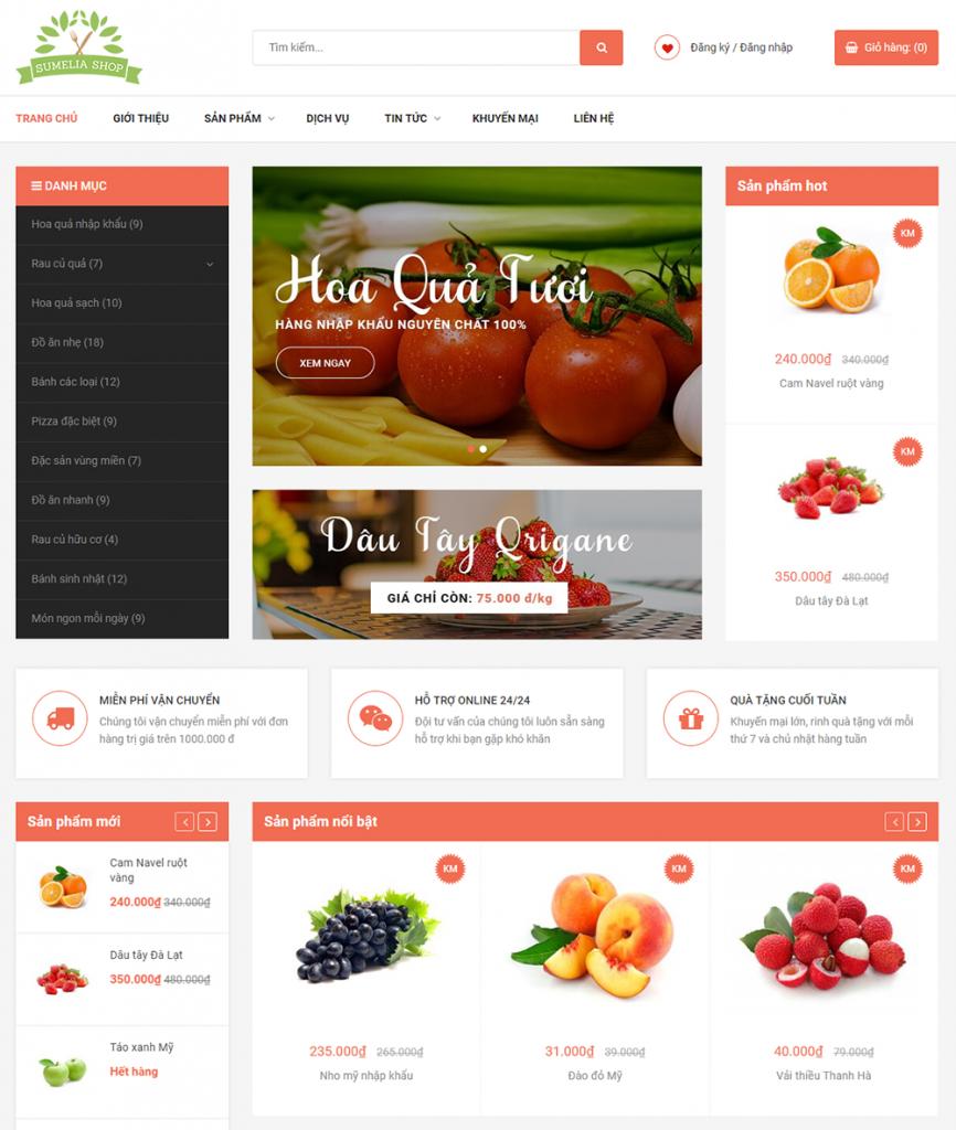 Giao diện mẫu web Sumelia