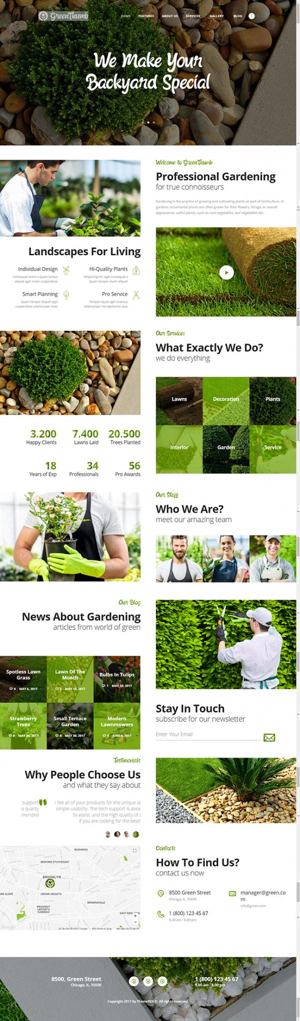 Mẫu web dịch vụ làm vườn, chăm sóc cây cảnh Green Thumb