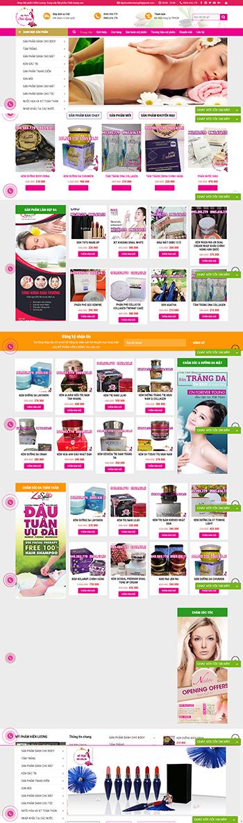 Mẫu website bán hàng mỹ phẩm chuyên nghiệp