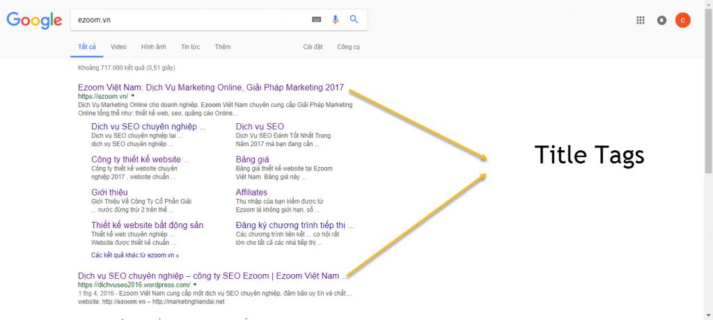 Tiêu đề google search