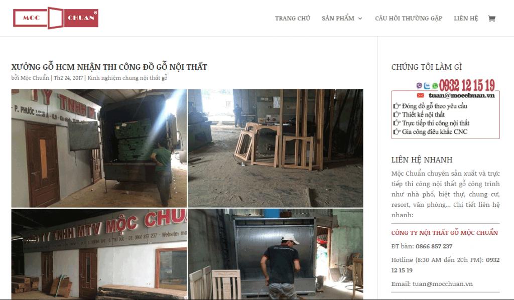 Thiết kế web xưởng gỗ nội thất