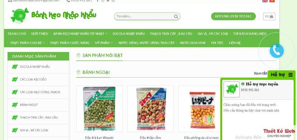 thiết kế website bán bánh kẹo nhập khẩu