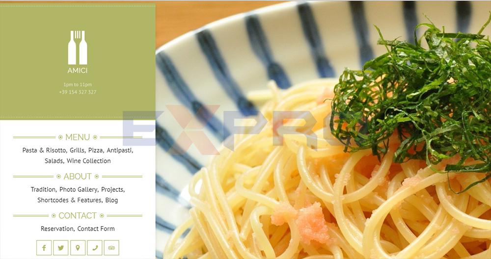 Mẫu web nhà hàng Amici