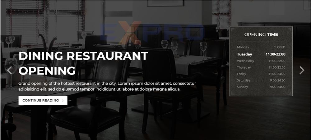 Mẫu website nhà hàng Dining Restaurant