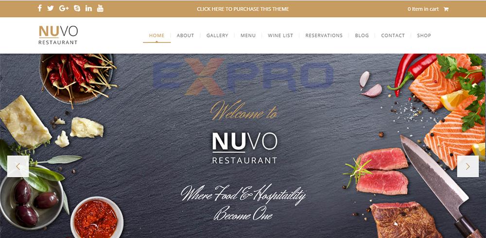 Mẫu web nhà hàng Nuvo