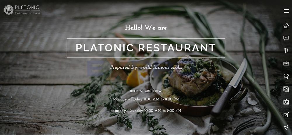 Giao diện web nhà hàng Platonic