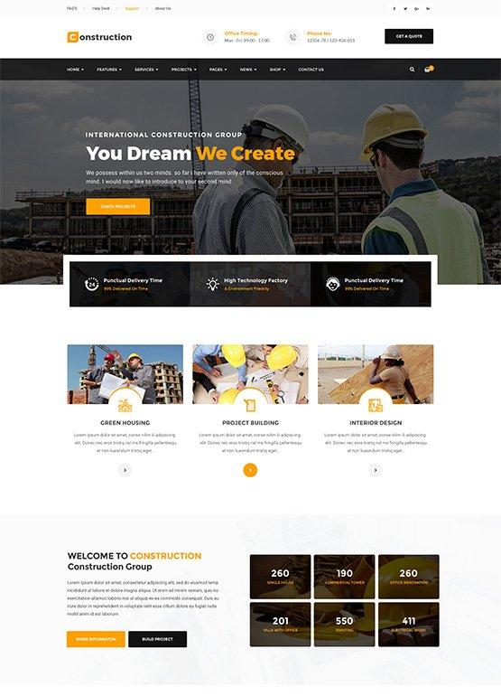Mẫu web giới thiệu công ty xây dựng