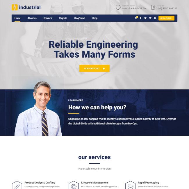 Mẫu web giới thiệu công ty nhà máy dịch vụ