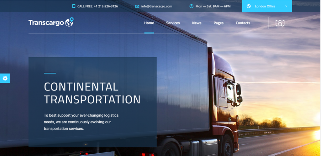 Mẫu web giới thiệu công ty vận tải chuyên nghiệp