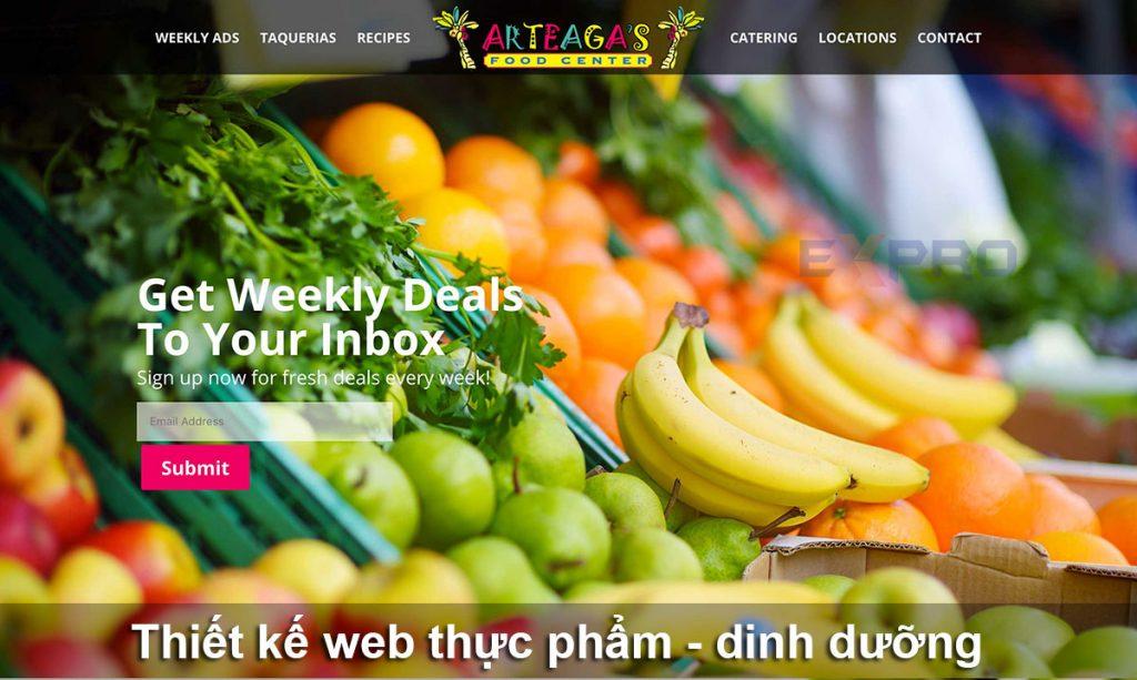 Thiết kế web thực phẩm dinh dưỡng chuyên nghiệp