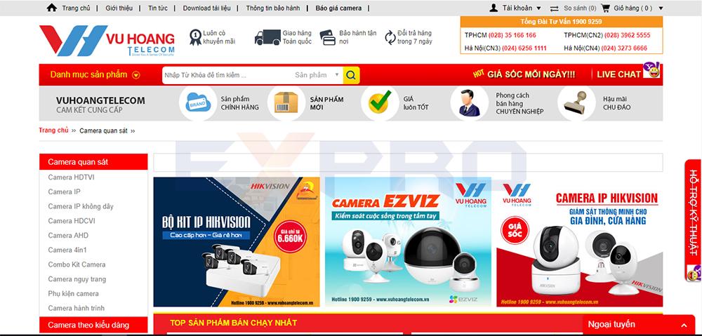 Thiết kế website bán camera thiết bị giám sát