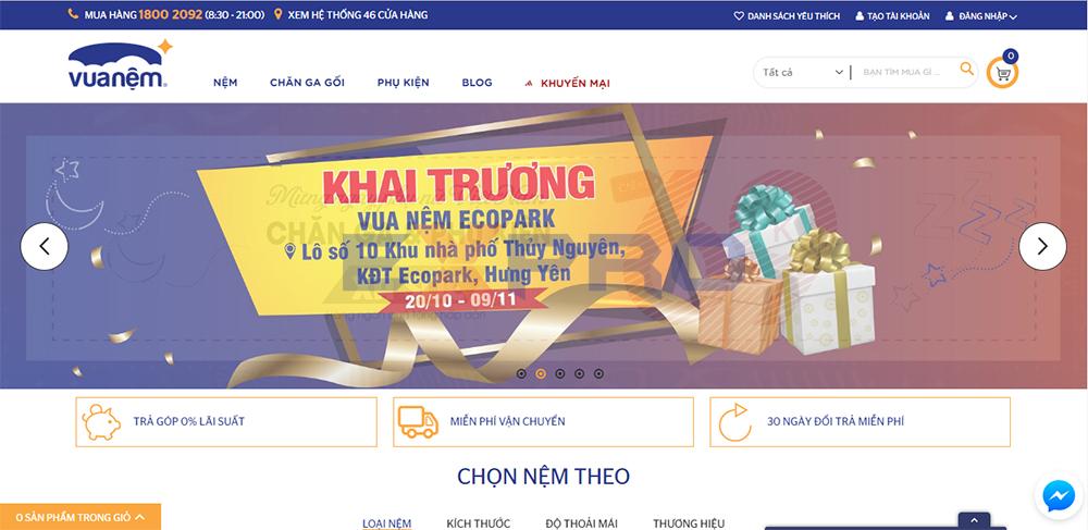 Thiết kế web bán hàng cho cửa hàng chăn ga gối đệm