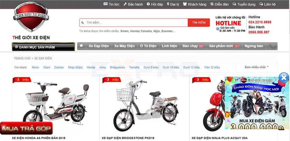 Thiết kế website cửa hàng xe đạp điện